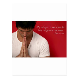 """Cartão Postal Dalai Lama """"minha religião é citações da bondade"""""""