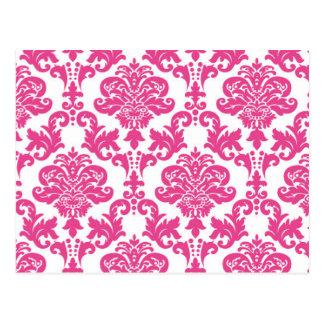 Cartão Postal Damasco cor-de-rosa Pattern.jpg