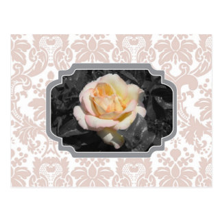 Cartão Postal Damasco Notecard do rosa amarelo