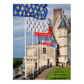 Cartão Postal d'Amboise do castelo e bandeira, France