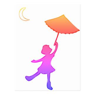 Cartão Postal Dança da menina com seu guarda-chuva
