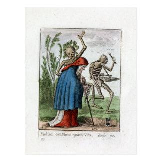 Cartão Postal Dança de morte - mulher adulta - impressão de cor