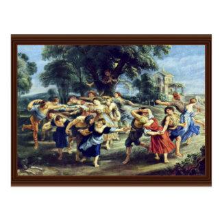 Cartão Postal Dança do celeiro por Rubens Peter Paul (a melhor
