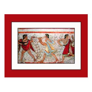 Cartão Postal Dançarino e músicos de Etruscan