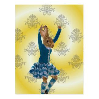 Cartão Postal Dançarino escocês das montanhas do coelho bonito