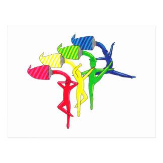 Cartão Postal Dançarinos do arco-íris