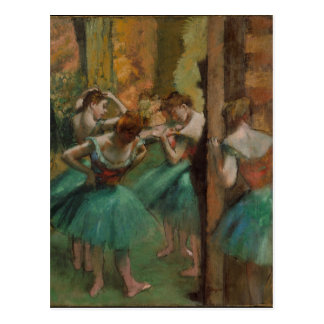 Cartão Postal Dançarinos rosa e verde de Edgar Degas