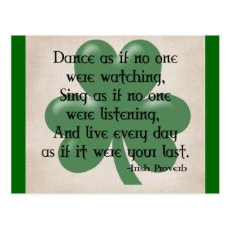Cartão Postal Dance como se:: Provérbio irlandês (enegreça o