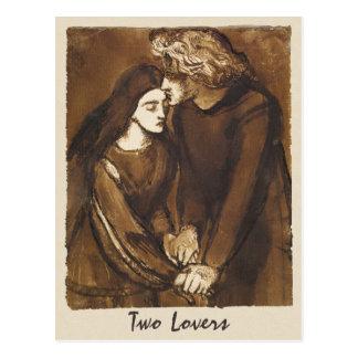 Cartão Postal Dante Gabriel Rossetti dois amantes 1850
