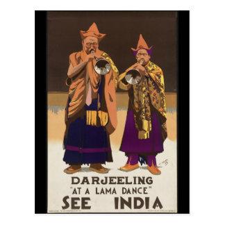 Cartão Postal Darjeeling em uma dança da Lama