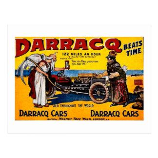 Cartão Postal Darracq - propaganda do automóvel do vintage