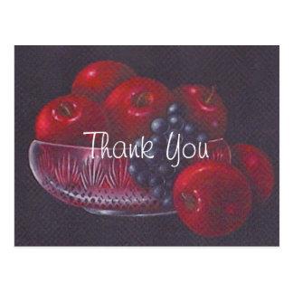 Cartão Postal Das maçãs obrigado vermelho da pintura a óleo da