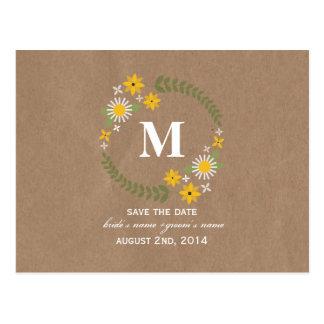 Cartão Postal Data inspirada das economias do monograma do
