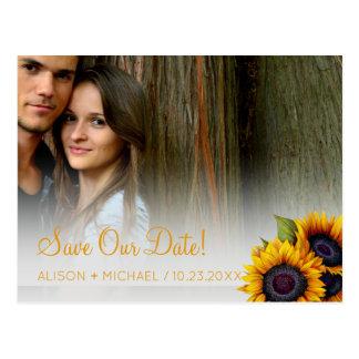 Cartão Postal Data rústica elegante das economias do casamento