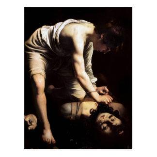 Cartão Postal David e Goliath por Caravaggio