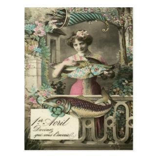 Cartão Postal D'avril de Poisson do Cornucopia dos peixes da