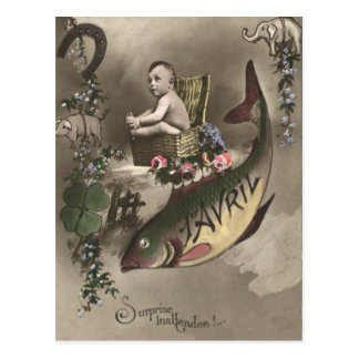 Cartão Postal D'avril de Poisson do trevo da folha do bebê