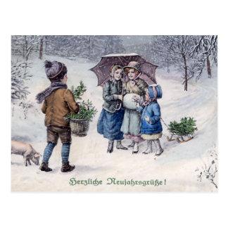 """Cartão Postal De """"alemão do vintage Herzliche Neujahrsgrusse"""""""
