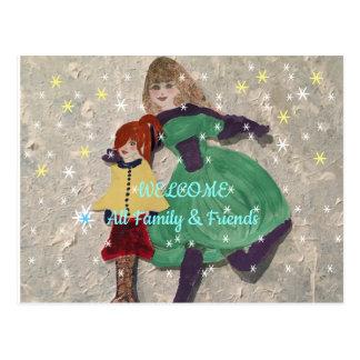 Cartão Postal Dê boas-vindas a toda a família e amigos