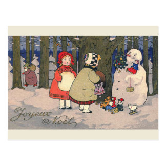 """Cartão Postal De """"cartão francês do natal vintage Joyeux Noel"""""""