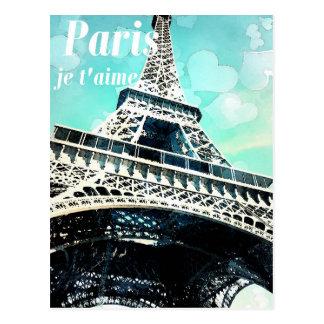 """Cartão Postal De """"cartão retro da torre Eiffel do t'aime do je"""