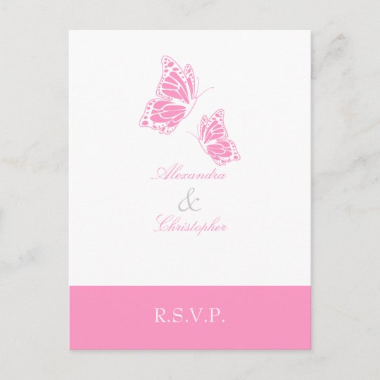 Cartão Postal De Convite Borboleta Cor De Rosa Simples Rsvp 2
