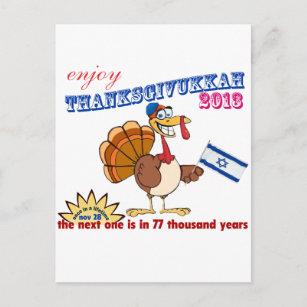 Cartão Postal De Festividades Acção de graças e Hanukkah.  Thanksgivukkah