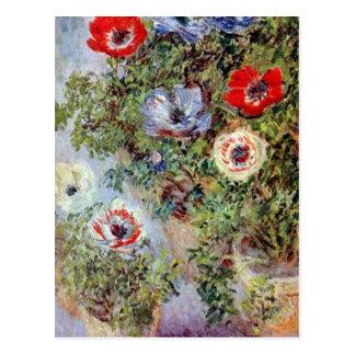 Cartão Postal De Monet pintura da flor das anêmonas da vida