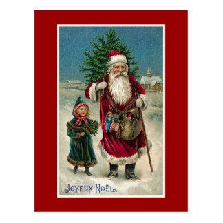 """Cartão Postal De """"Natal do francês do vintage Joyeux Noel"""""""