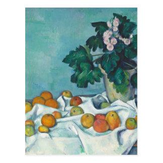 Cartão Postal De Paul Cézanne vida ainda com maçãs e prímulas
