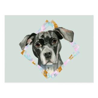 """Cartão Postal De """"pintura da aguarela do cão do pitbull todas as"""