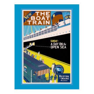 """Cartão Postal De """"poster das viagens vintage Boston e de Maine"""""""