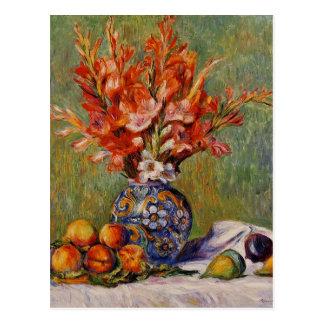 Cartão Postal De Renoir das flores e das frutas do vintage vida