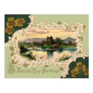 Cartão Postal De St Patrick irlandês do castelo do vintage o dia