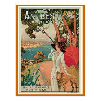 """Cartão Postal De """"viagens vintage Antibes, France"""""""