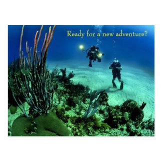 Cartão Postal De volta à aventura do mergulho do mar profundo da