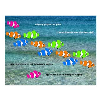 Cartão Postal De volta à boa vinda dos peixes do palhaço da