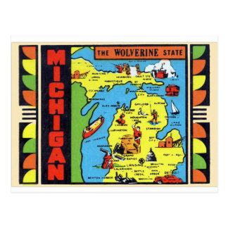Cartão Postal Decalque retro de Michigan Wolverine do kitsch do