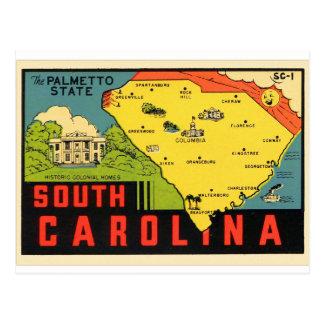 Cartão Postal Decalque retro do Palmetto de South Carolina do