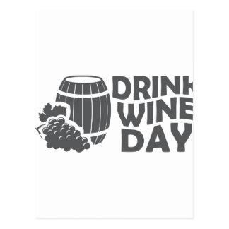 Cartão Postal Décimo oitavo fevereiro - dia do vinho da bebida