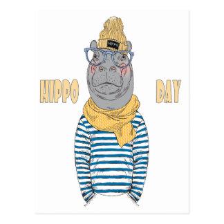 Cartão Postal Décimo quinto fevereiro - dia do hipopótamo - dia
