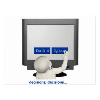 Cartão Postal Decisões, decisões…