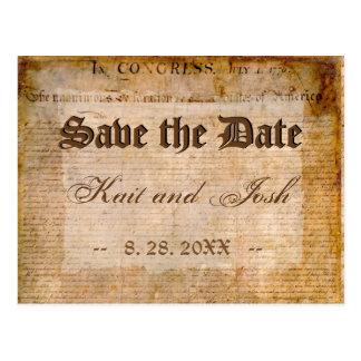 Cartão Postal Declaração de economias da independência 1776 a
