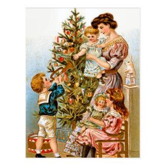 Cartão Postal Decoração da árvore de Natal da família do vintage