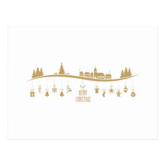 Cartão Postal Decoração elegante do Feliz Natal da cor do ouro