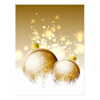Cartão Postal Decoração marrom dourada do ano novo com neve