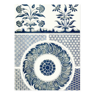 Cartão Postal Decoração oriental azul FloralPattern do vintage