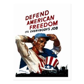 Cartão Postal Defenda a liberdade americana