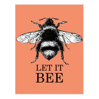 Cartão Postal Deixado o a natureza do vintage da abelha Bumble a