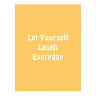 Cartão Postal Deixado para rir diário. Amarelo